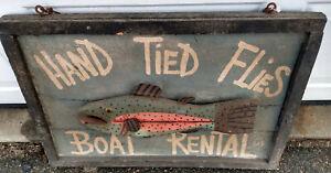 Vintage Folk Art Trade Sign Fish Fishing Bait Boat Carved Wood Decoy Sculpture
