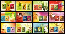 China Hong Kong 2001-2012 New Year of Snake-Dragon Gold/Silver Zodiac 12 S/S