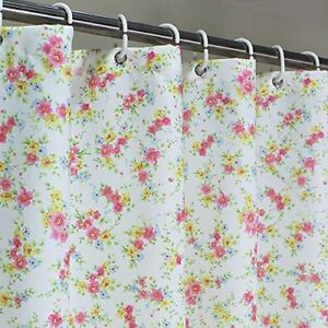 Floral-Fabric-Shower-Curtain-Mould-Proof-Weighted-Waterproof-Fabric-Bathroom