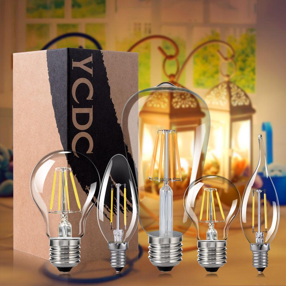 E27 E14 4 8 16W Retro Edison Lamps Filament COB LED Bulbs Vintage Candle Lights