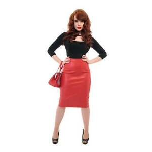 1a9ea4f511 Collectif Naeemah High Waisted Faux Leather PU Pencil Red Rockabilly ...