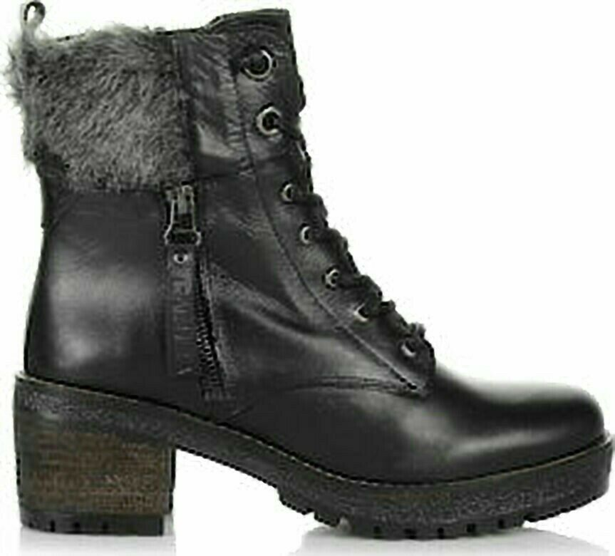 Bnib Carmela black soft leather faux fur top Boots Sz 36 UK 3 rrp
