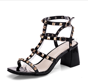 e4cfa8ee7 Image is loading Womens-Studded-Ankle-Strappy-Peep-Toe-Block-High-