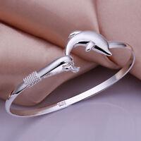 Neu Silber versilbert  Dolphin Design Armband Armreif Damen Modeschmuck