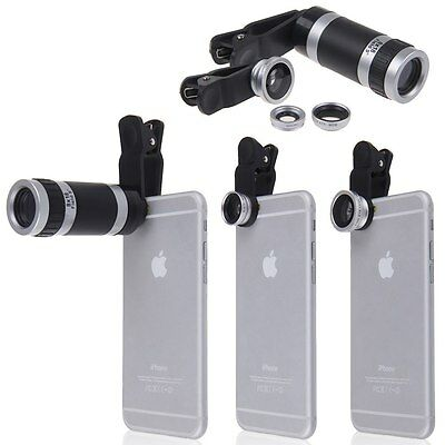 4in1 FishEye+ Wide Angle+ Micro+ 8x Zoom Optical Camera Lens Telescope for Phone