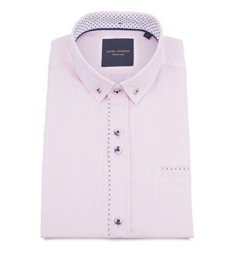 Mens Guide London Pink Short Sleeve Shirt HS.2280