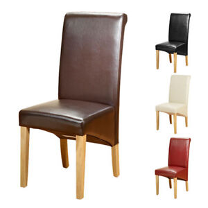 Top-Quality-Leather-Dining-Chairs-Roll-Top-Scroll-Back-Oak-Leg-Seat-Furniture