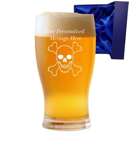 Personnalisé 1 Pt tulipe verre à bière avec crâne et crossbones Design