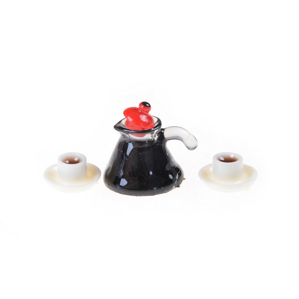 3PCS Coffee Pot Cup with Saucer Miniature for 1:12 Scale Dollhouse Gift TUS G6Z6
