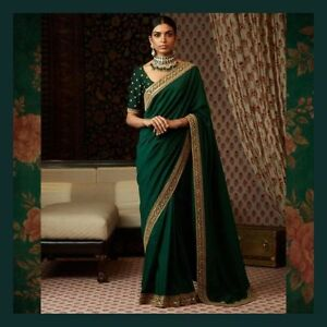 bfc63100ee0b4 indian asian pure silk emerald green saree blouse embroidery border ...