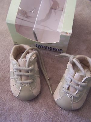 NEW in BOX Gymboree Tan Leather upper LACE UP Crib shoes 01 or 03
