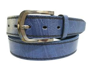 Uomo in vera Cintura Cintura Jeans Nero 4 cm Vintage Classic 6 dimensioni JEANS NUOVO