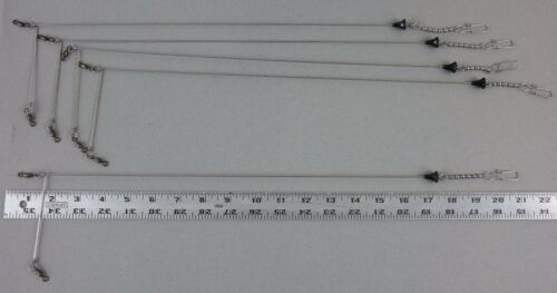 """5 Pack Long-Arm Flasher Spreader for Salmon Trolling with BLACK TEE BEAD .051/"""""""