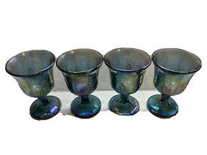 Vintage-Indiana-Iridescent-Carnival-Glass-BLUE-Harvest-Grape-Water-Goblets-4