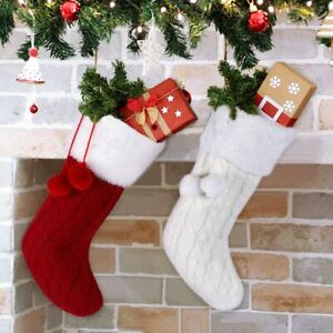 Knitted Christmas Stockings.Details About Big Knitted Christmas Stockings Christmas Gift Storage Bag Gifts Home Xmas Decor