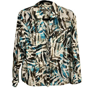 Tommy Bahama Women Small Multicolor Long Sleeve Button Silk Cotton Shirt Blouse