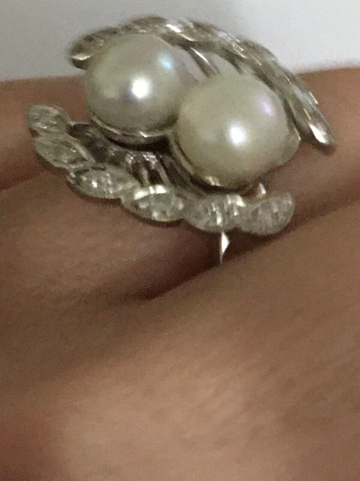 Vintage pearl and diamond Ring, Pearl and Diamond… - image 6