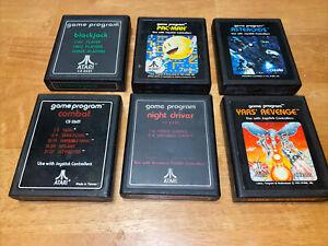 Atari 2600 Pac Man Blackjack Asteroids Yars Revenge Combat Night Driver Lot Of 6