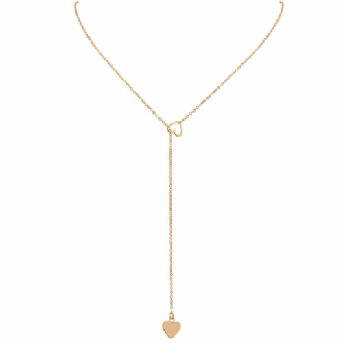 Heart pendent necklace gold Karma Gold Love chain gift wedding birthday choker