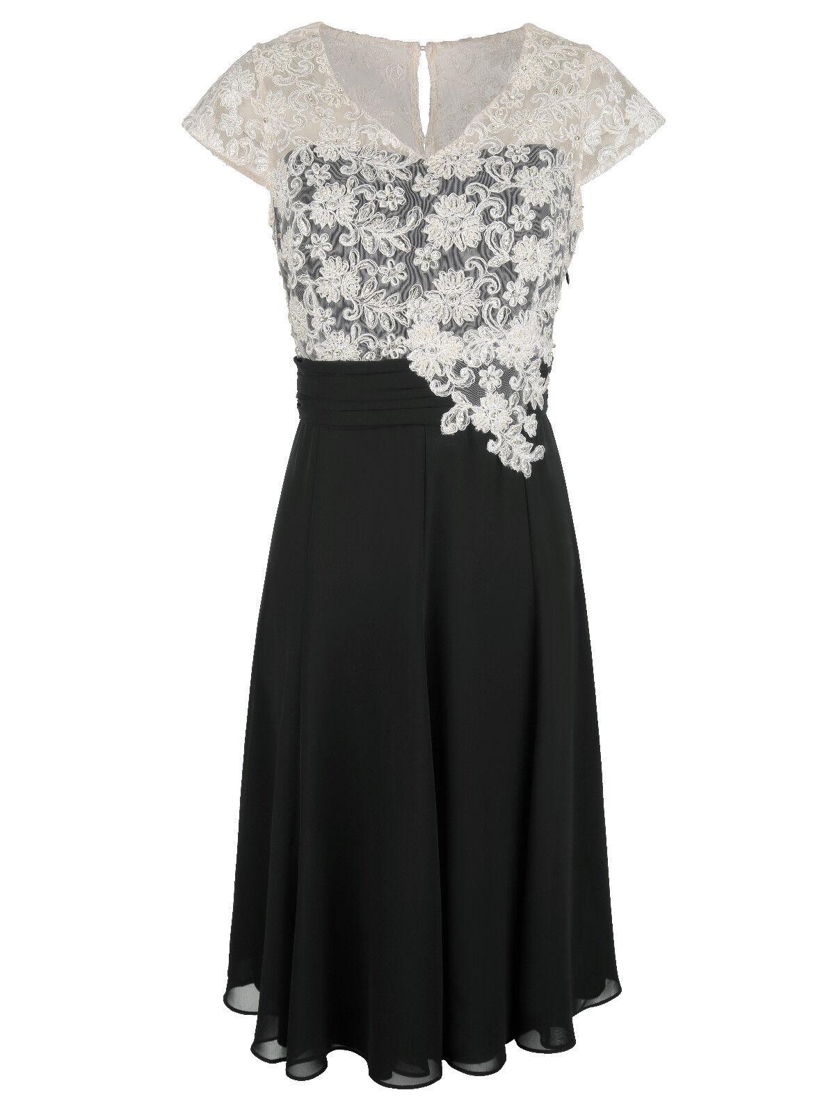 Marken Abend Kleid mit Spitzenoberteil schwarz-ecru Gr. 46 0618988675 | | | Ausgewählte Materialien  | Schön geformt  2e3db8