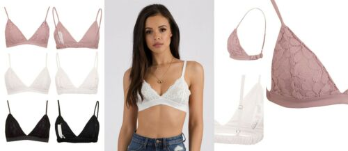 New Women/'s Lace Detailed Single Strap Bralet with Floral Pattern UK 6-14