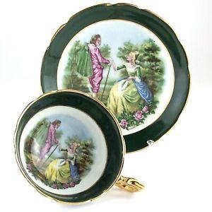 Regency-Couple-Romantic-Love-Scene-Tea-Green-Cup-Saucer-Bone-China-England-L028