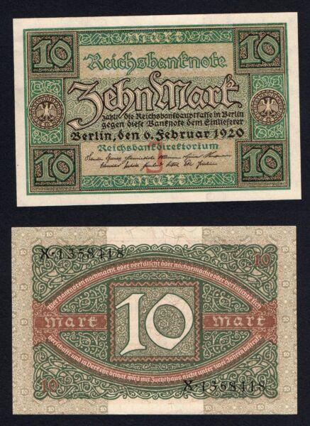Allemagne / Allemagne - 10 Mark Reichsbanknote 1920 Qfds / Unc- A-07 Pourtant Pas Vulgaire