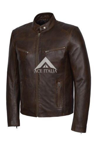 SPEED/' Men/'s wood Nappa Cool Retro Biker Style REAL Soft Leather Jacket SR-02