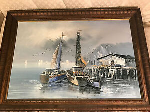 Huge-Vintage-Florence-034-Moored-Fishing-Boats-034-3-Oil-Painting-Signed-And-Framed