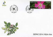 Faroe Islands Faroes 2014 FDC Soft Downy Rose SEPAC 1v Set Cover Flowers Flora