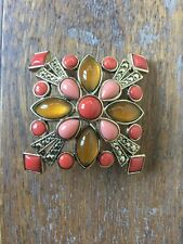 NEW Vintage Monet Opal Moonstone and Coral Gold tone Brooch Pin in Gift Box