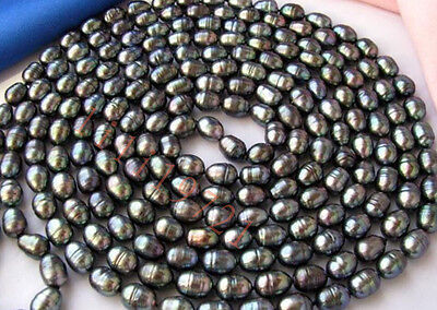 9-10mm black rice freshwater cultured pearl necklace 80""