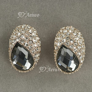 18K-ROSE-GOLD-GF-CHARCOAL-GRAY-MADE-WITH-SWAROVSKI-CRYSTAL-STUD-EARRINGS