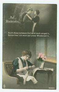 Alte-Ansichtskarte-Postkarte-Soldatenabschied-Auf-Wiedersehn-1915