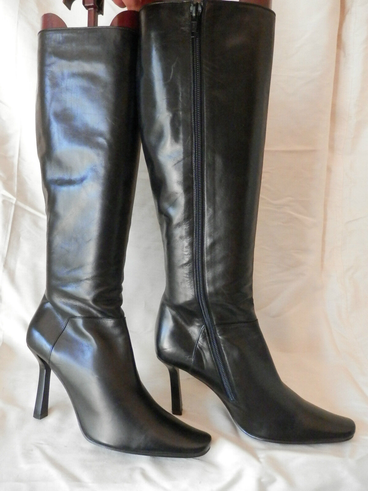 botas luxe habillées talon, Made italy 100% CUIR negro  T 36 36,5 très bon état