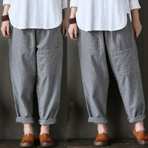 Aimple-Femme-100-Coton-Loose-Taille-elastique-Bande-Longue-Cargo-Pantalons-Plus