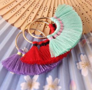2X Baumwolle Quasten Ohrringe Zubehör DIY Schmuck Halskette machen Zubehör