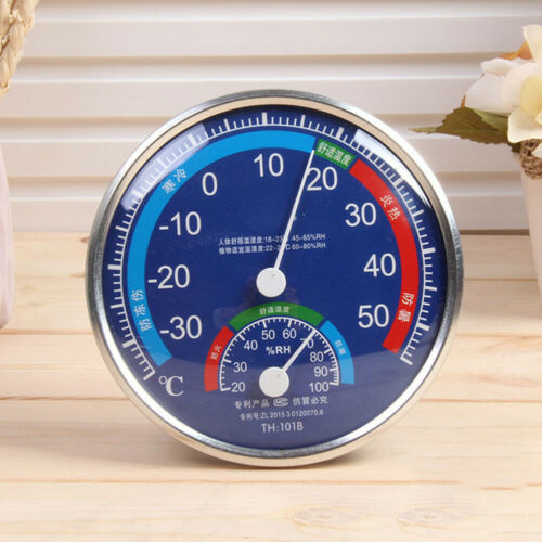 Large Round Analog Indoor Thermometer Hygrometer Humidity Temperature Meter Home