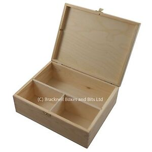 Details About Large Pine Wood Storage Box With 3 Compartments Dd402 Memory Craft Keepsake