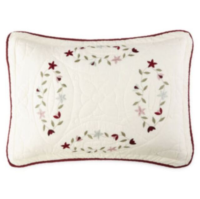"Jcp Home Expressions Cassandra Standard Quilted Pillow Sham 20/""x26/"" Green"