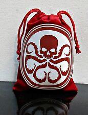 """Red Skull Hydra Agent Shield Velvet like Dice Bag 5.5"""" x 4.25"""" w/ Drawstring"""