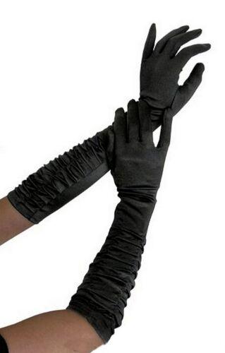 Ellenbogen lange Satin Handschuhe GERAFFT 3 vers Farben