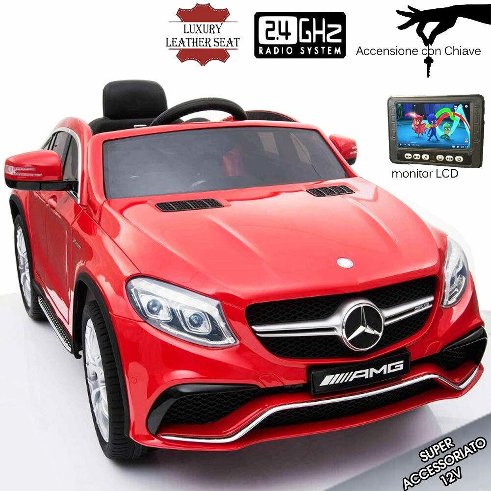 Auto Elettrica Bambini Mercedes GLE63 Schermo Telecomando MP3 Sedili Pelle Rossa