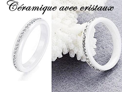cristaux transparent neuf Belle raffiné bague anneau alliance CÉRAMIQUE blanc