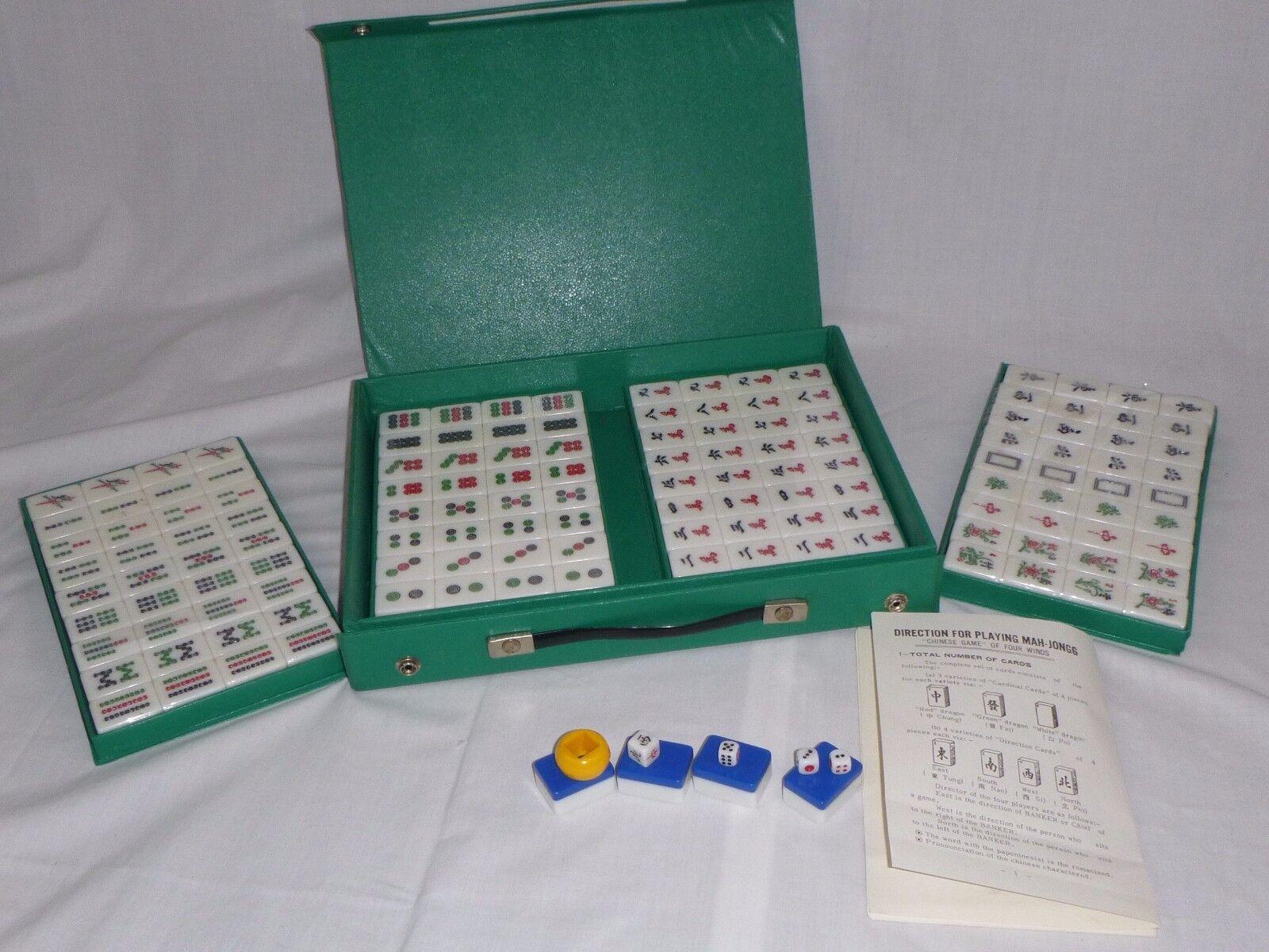 NOS Vtg Travel Mah Jong Jongg Set 144 Tiles Still Sealed Grün Vinyl Case