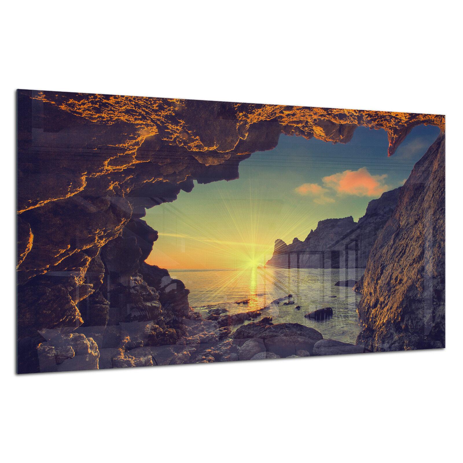 Vidrio templado Foto Impresión Parojo Arte Imagen Crimea Cliff amanecer Prizma GWA0339