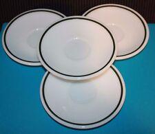 Lot 4 Pyrex Double Tough green band saucers restaurant #10 Milk glass ware