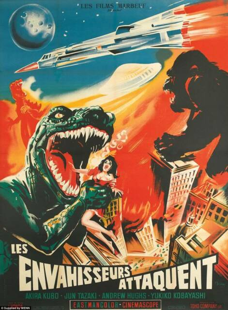 "King Kong Godzilla VINTAGE HORROR MOVIE POSTER QUALITY CANVAS ART PRINT 16""X 12"""