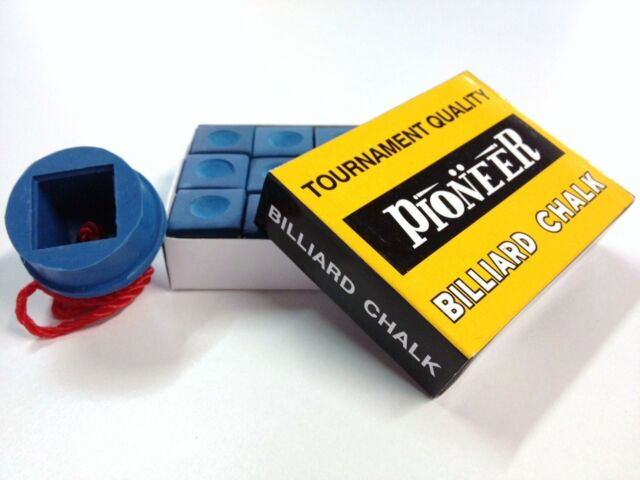 Pool Snooker Billiard Cue Tip Table Blue Chalk AND Blue Rubber chalk holder