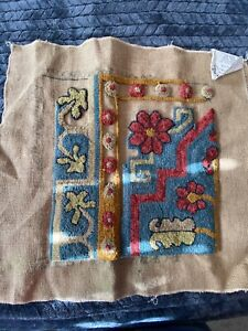 Charco-Primitive-Rug-Hooking-Pattern-039-Khotan-039-by-Jane-McGown-Flyyn-on-Burlap